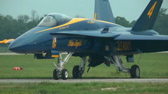 Blue Angels F-18 Hornet waiting to fly at an airshow Stock Footage