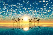 Stock Illustration of gold sunset above tropic island turquoise