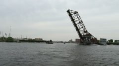 Lift bridge seen from the water Stock Footage