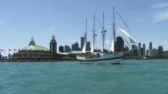Vessel navigating in front of Chicago - stock footage