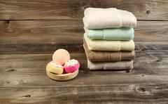 Spa cleanse accessories on weathered wood Stock Photos
