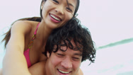 Laughing Ethnic Couple Beach Vacation Fun Close Up Video Selfie Stock Footage