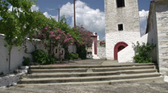 Tilt to church in Theologos, Thassos, Greece Stock Footage