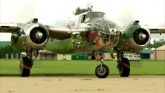 North American B-25 Taxi to Stop Stock Footage