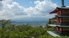4k - Japanese Cloudscape timelapse from Chureito Pagoda Stock Footage