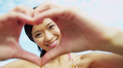 Close Up Ethnic Girl Head Hands Only Framing Stock Footage
