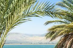 Kinneret lake or galilee sea and golan heights Stock Photos