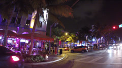 Ocean drive night clevelander - stock footage