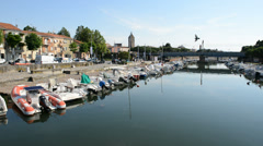 The water channel with parked motor boats, Rimini, Italy Stock Footage