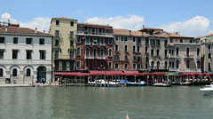 The motor boats with tourists are on Grand Canal, Venice, Italy Stock Footage