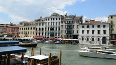 The passenger ship with tourists and motor boats are on Grand Canal - stock footage