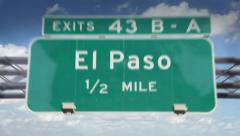 Road Sign-El Paso Stock Footage