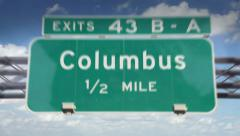 Road Sign-Columbus Stock Footage