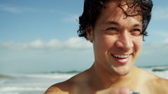 Portrait Handsome Young Hawaiian Male Camera Outdoors Beach Stock Footage