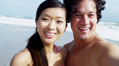 Asian Chinese Young Couple Smiling Filming Selfie Close Up Stock Footage