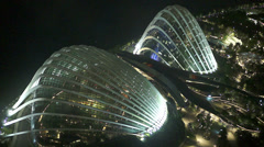 Singapore Night Aerial View on Pavilion Gardens by the Bay Stock Footage