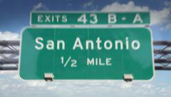 Road Sign-San Antonio Stock Footage
