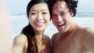 Close Up Portrait Asian Chinese Young Couple Smiling Filming Selfie Stock Footage