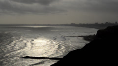 View of the green coast Stock Footage