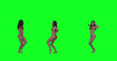 Bikini girl dancing. Green Screen. 4k Stock Footage