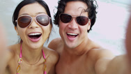 Close Up Portrait Asian Chinese Young Couple Sunglasses Smiling Filming Selfie Stock Footage
