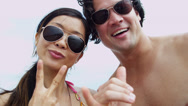 Asian Chinese Young Couple Sunglasses Smiling Filming Selfie Close Up Stock Footage