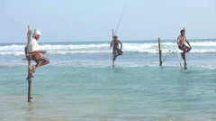 View of local fishing poles in the ocean in Galle, Sri Lanka. Stock Footage