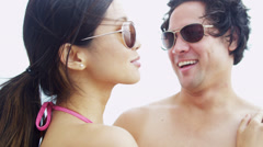Loving Young Heterosexual Ethnic Couple Outdoors Close Up Stock Footage