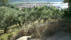 Tilt to Limenas, Thassos town,  Greece Stock Footage