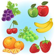 fruits collection - stock illustration