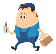 Worker with pliers Stock Illustration