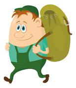 Tourist with backpack Stock Illustration