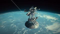 Satellite in orbit Stock Footage
