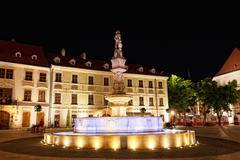 the fountain with illumination on a central square at night in bratislava - stock photo