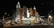 Stock Video Footage of 4K video of the amazing New York themed Casino Hotel in Las Vegas, Nevada