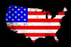 Usa outline and flag Stock Illustration