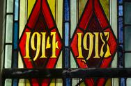 Stock Photo of First World War dates in stained glass