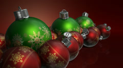 Christmas baubels colour pan Stock Footage