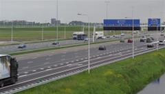 Dutch highway closeup with traffic signs Stock Footage