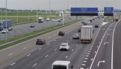 Dutch highway overview shot with traffic Stock Footage