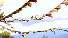 Buddhist prayer flags wave in the wind. Slow motion. Stock Footage