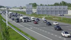 Overview shot of Dutch highway A2 Stock Footage