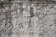 Stock Photo of war scene carving prasat bayon temple angkor thom cambodia