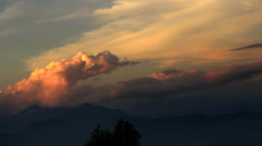 Epic clouds and sunset in Himalayan mountains of Nepal Stock Footage