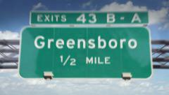 Road Sign-Greensboro Stock Footage