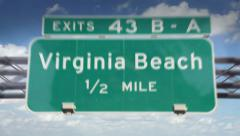 Road Sign-Virginia Beach Stock Footage