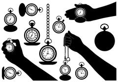 Set of different pocket watches Stock Illustration