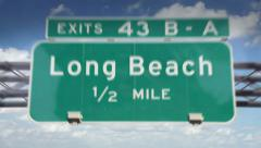 Road Sign-Long Beach - stock footage