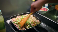 Cooking seafood and vegetables close-up sequence Stock Footage