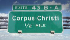Road Sign-Corpus Christi Stock Footage